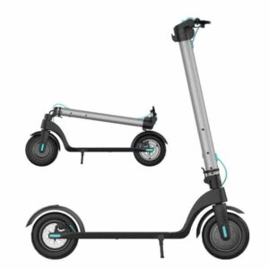 A silver black and blue electric scooter with white background