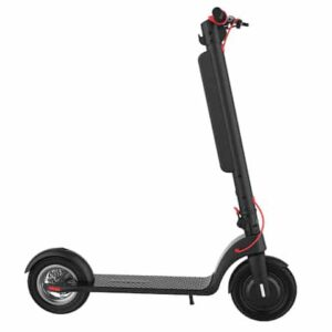 A black and red electric scooter with white background