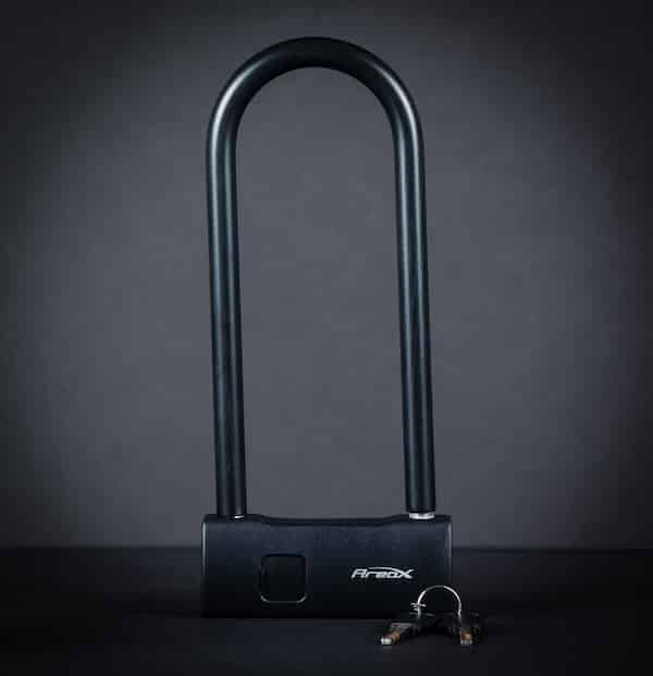 A black fingerprint u lock with black background