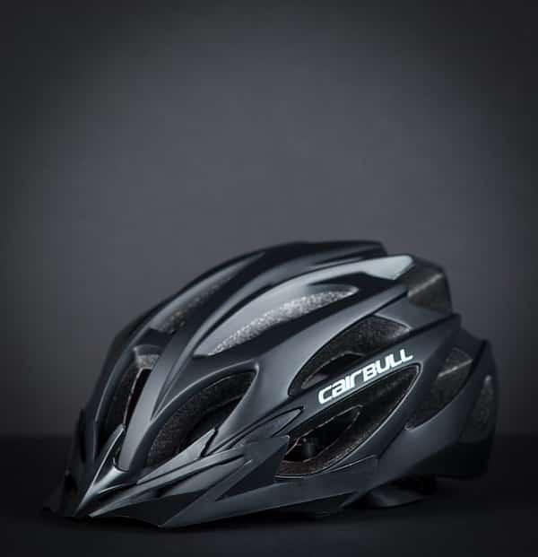 Black cairbull helmet with black background